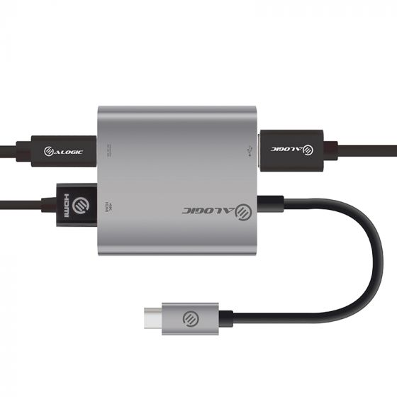 ALOGIC USB-C MULTIPORT ADAPTER WITH HDMI 4K/USB 3.0/USB-C WITH POWER DELIVERY (60W) - SPACE GREY