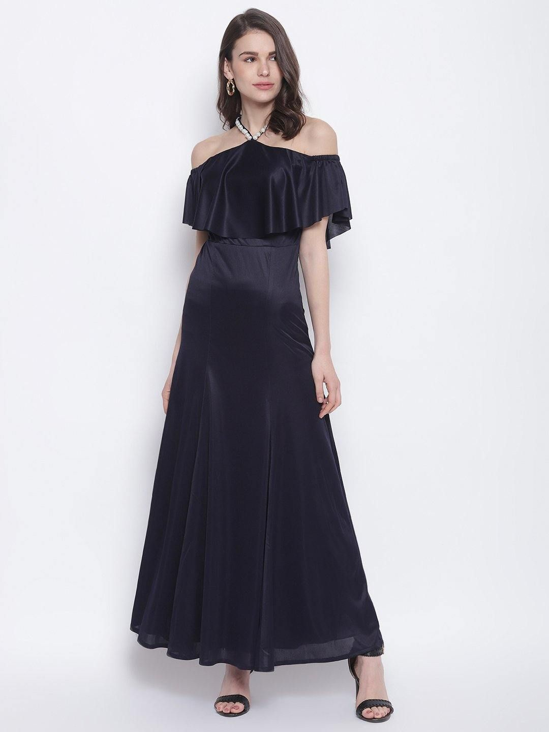 Navy Necklace Off-Shoulder Long Dress - Trendy Divva