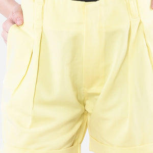 Yellow Pleated Front Short