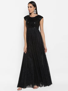 Black Lace Gown With Sequence