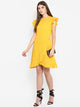 Yellow Wrap Schiffli Dress