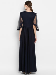 Navy Long Dress with Net Sleeves