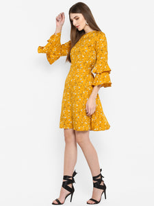 Yellow Floral Print Aline Dress