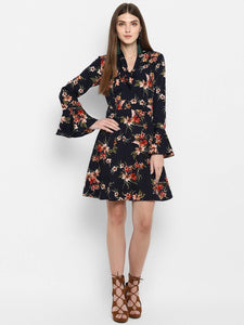 Floral Print Bell Sleeve A-Line Dress