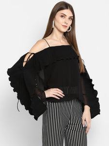Full Sleeve Pleated Black Top
