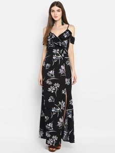 Sweat Heart Neck Slit Maxi Dress