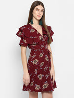 Frill Sleeves Printed Wrap Dress