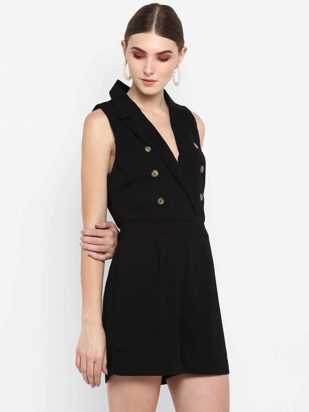 Sleeveless Black Wrap Playsuit