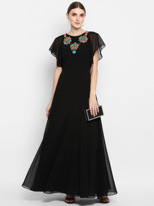 Round Neck Full Length A-Line Dress