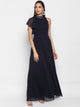 Navy Long Dress With Neck Piece