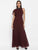 Maroon Long Dress With Neck Piece