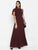 Wine Long Dress With Neck Piece