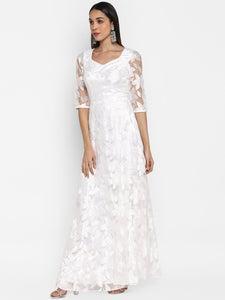 White Floral Lace Gown