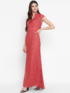 Pink Lace Long Dress
