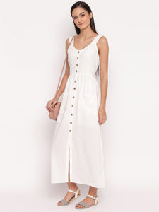 White Sleeveless Maxi Shirt Dress