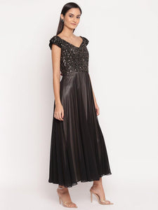 Black Embellished A-Line Midi Dress