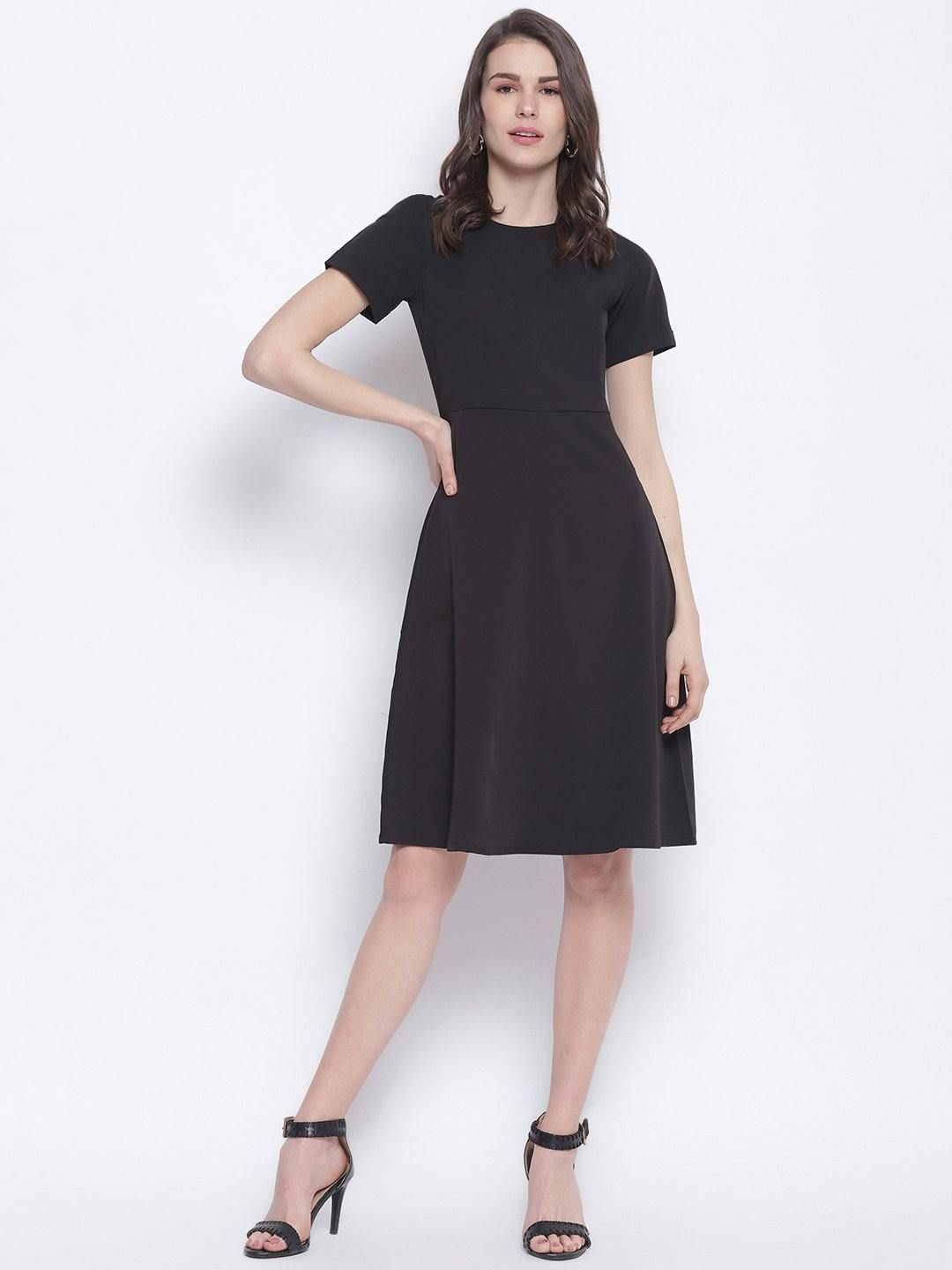 Black A-line Dress - Trendy Divva