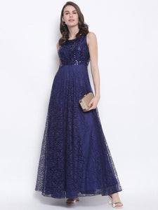 Blue Sequin Lace Gown