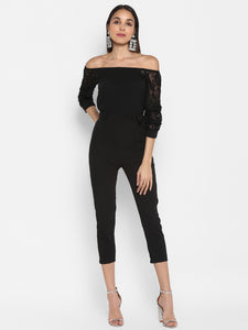 Off Shoulder Lace Sleeve Jumpsuit