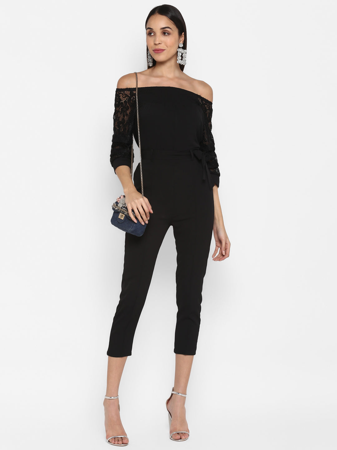 Off Shoulder Black Lace Jumpsuit