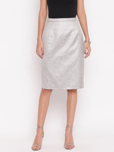 Grey Jacquard Skirt