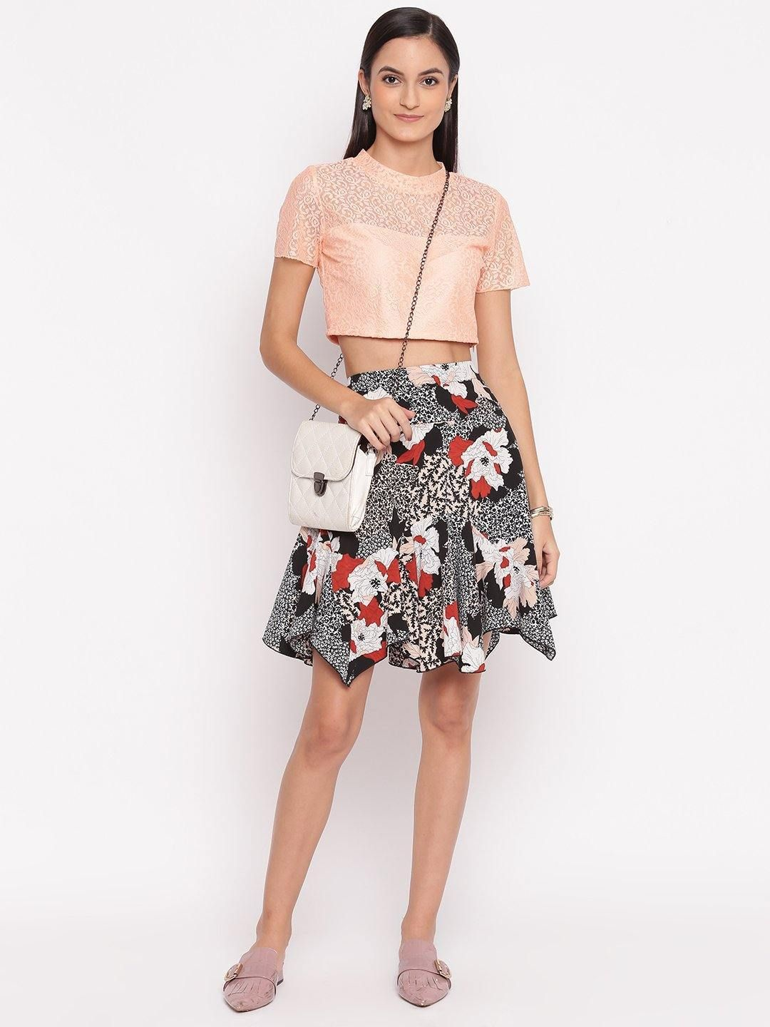 Floral Print Short Skirt - Trendy Divva