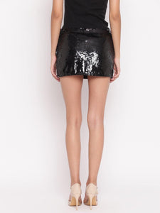 Black Embellished Short Skirt