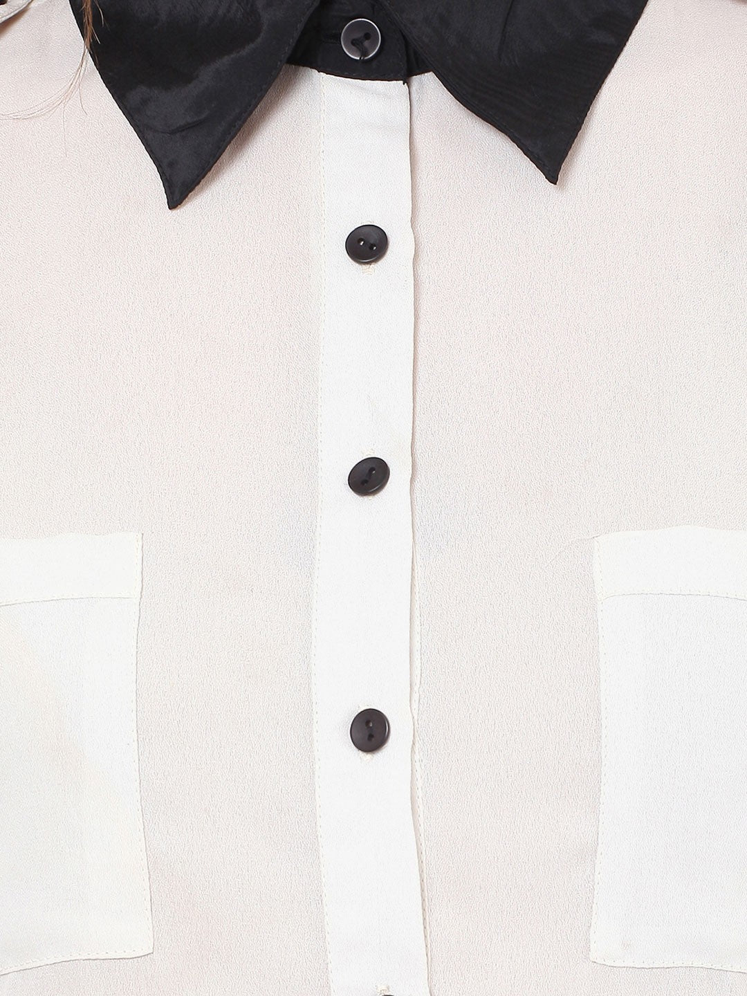 White & Black Full Sleeve Shirt