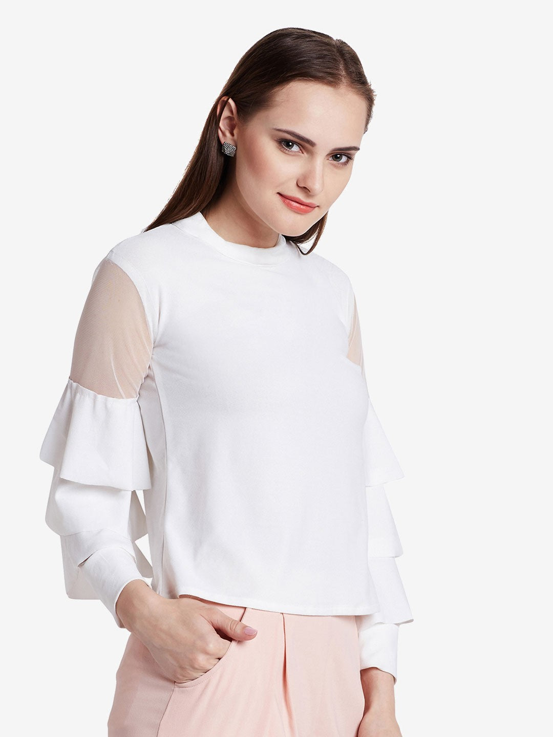 White Top With Flared Sleeves