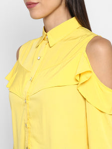 Yellow Shirt With Cold Shoulders