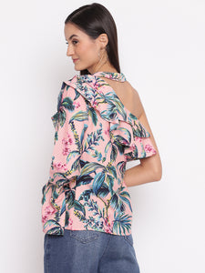 Tropical Print One Shoulder Top