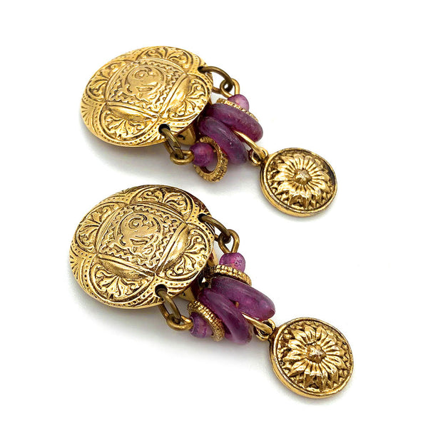 【USA輸入】ヴィンテージ パープル ビーズ イヤリング/Vintage Purple Beads Clip On Earrings