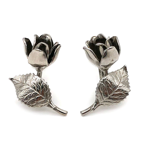 【USA輸入】ヴィンテージ シルバー ローズ イヤリング/Vintage Silver Rose Clip On Earrings