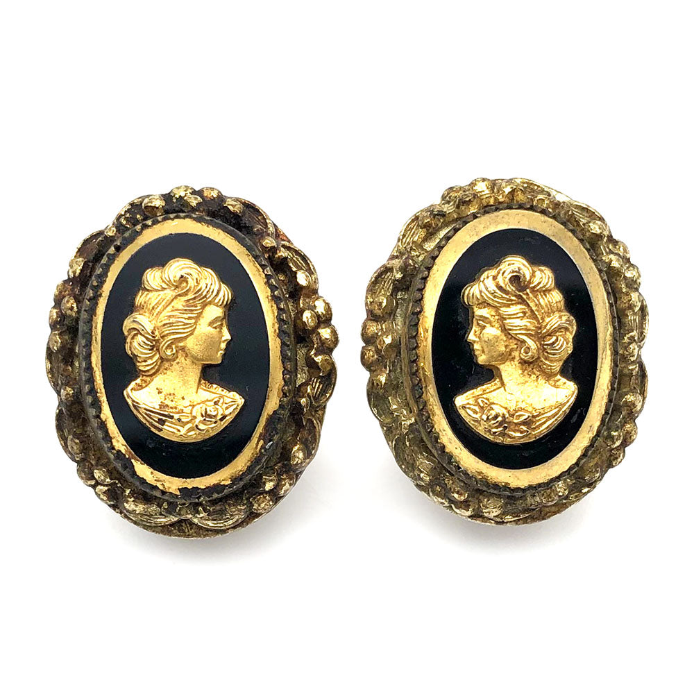 【USA輸入】ヴィンテージ ホワイティング&デイビス カメオ イヤリング/Vintage WHITING & DAVIS Cameo On Earrings