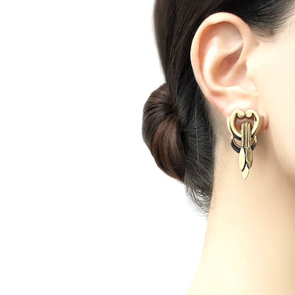 【USA輸入】ヴィンテージ モネ ゴールド チェーン イヤリング/Vintage MONET Gold Chain Clip On Earrings