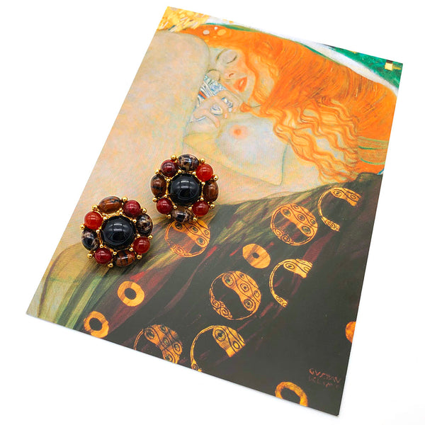 【USA輸入】ヴィンテージ モネ マーブル カボション イヤリング/Vintage MONET Marble Cabochon Clip On Earrings