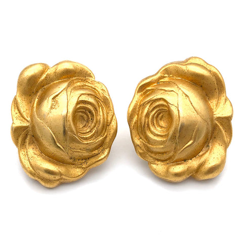 【UK輸入】 ヴィンテージ ゴールド ローズ イヤリング/Vintage Gold Rose Clip On Earrings