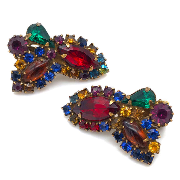 【USA輸入】ヴィンテージ ワイス マルチカラー イヤリング/Vintage WEISS Multi Color Clip On Earrings