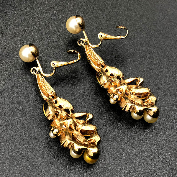 【USA輸入】ヴィンテージ グリーン ピンク ラインストーン イヤリング/Vintage Green Pink Rhinestones Clip On Earrings
