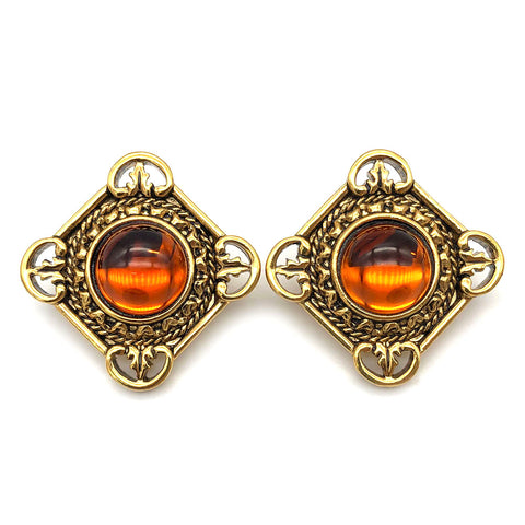 【USA輸入】ヴィンテージ エイボン アンバー カボション ピアス/Vintage AVON Amber Cabochon Post Earrings