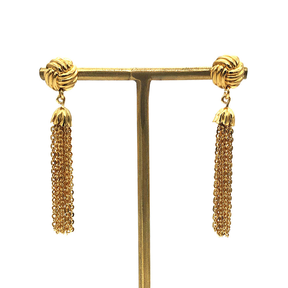 【LA買付】ヴィンテージ チェーン タッセル ピアス/Vintage Gold Chain Tassel Post Earrings