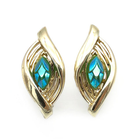 【USA輸入】ヴィンテージ コロ グリーン ルーサイト イヤリング/Vintage CORO Iridescent Green Clip On Earrings