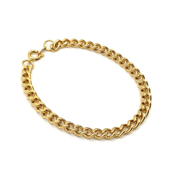 【USA輸入】ヴィンテージ ゴールド 喜平チェーン ブレスレット/Vintage Gold Flat Link Chain Bracelet