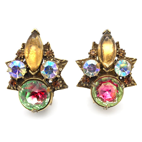 【USA輸入】ヴィンテージ フロレンザ バイカラーストーン イヤリング/Vintage FLORENZA Bicolored Stones Clip On Earrings