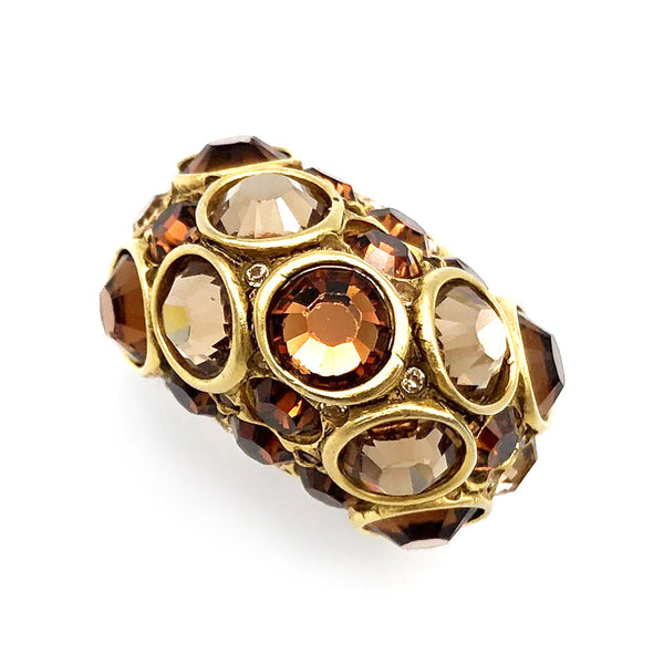 【USA輸入】ヴィンテージ アンバー ストーン カクテル リング/Vintage Amber Rhinestones Cocktail Ring