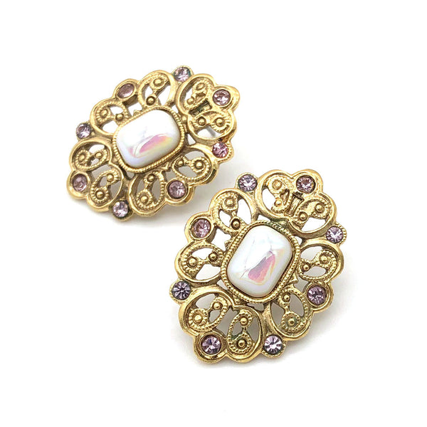 【USA輸入】ヴィンテージ ピンク パール ピアス/Vintage Pink Pearl Post Earrings