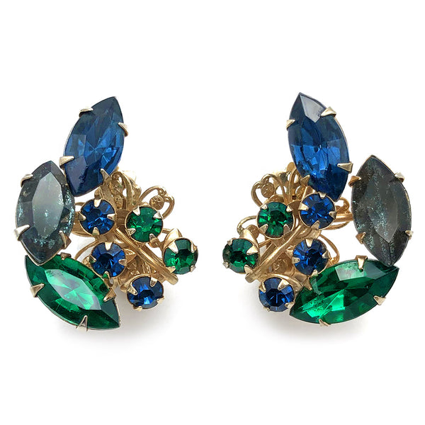 【USA輸入】ヴィンテージ ボー・ジュエルズ ラインストーン イヤリング/Vintage BEAU JEWELS Rhinestone Clip On Earrings