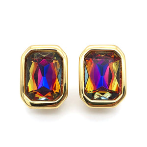 【USA輸入】ヴィンテージ KJL ラインストーン イヤリング/Vintage KJL Iridescent Rhinestones Clip On Earrings