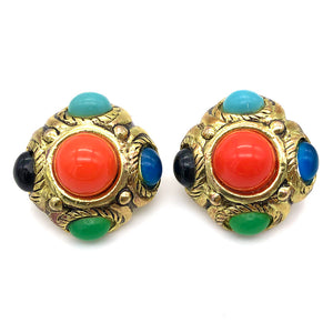 【USA輸入】ヴィンテージ マルチカラー イヤリング/Vintage Multi Colored Clip On Earrings