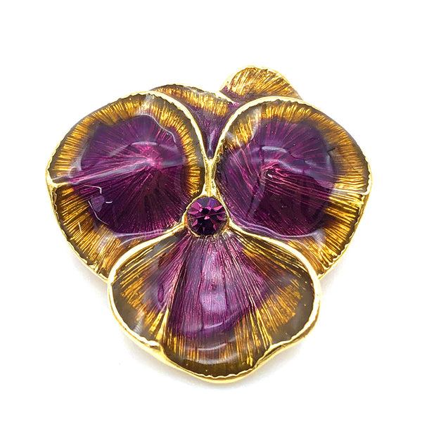 【USA輸入】ヴィンテージ ジョーン・リバース パンジー ブローチ/Vintage JOAN RIVERS Pansy Brooch